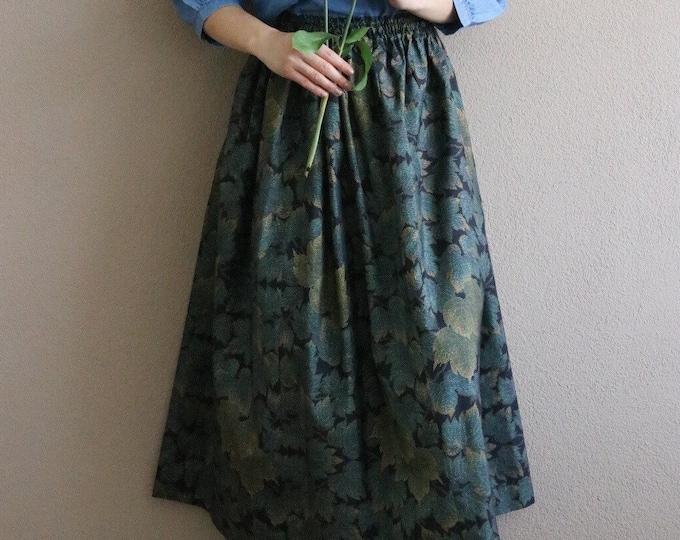 Vintage Japanese Oshima Tsumugi Ikat Kimono Skirt HAZUKI