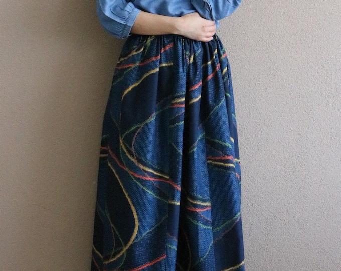 Vintage Japanese Echigo Tsumugi Ikat Kimono Skirt AIKA