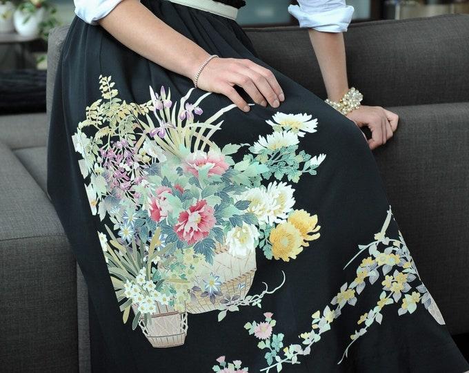 Japanese Black Tomesode Kimono Skirt KARIN
