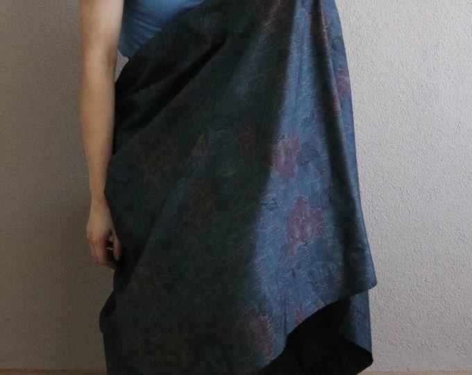 Vintage Japanese Oshima Tsumugi Ikat Kimono Skirt SAZANKA