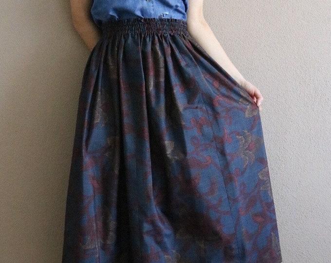 Vintage Japanese Oshima Tsumugi Ikat Kimono Skirt KEIKO