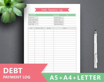 Debt Log Printable DEBT PAYMENT Letter A4 A5 Tracker Snowball Inserts Payoff Planner Repayment