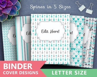 "Binder Cover Printable: ""BLUE AZTEC ARROWS"" Print Binder 5x set Covers + Spines Teacher Binder insert, tribal archery, triangles backgrounds"
