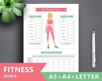 """Fitness Goal printable: """"FITNESS GOAL"""" Letter A4 A5 Binder Fitness Journal, Fitness Printable, Fitness binder, Workout Binder log tracker"""