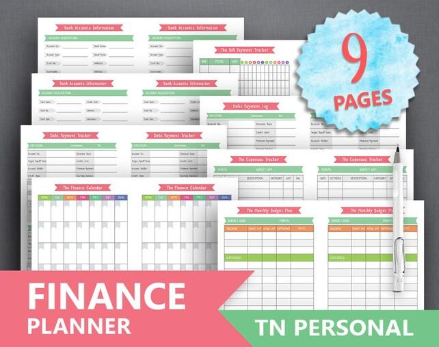 TN Personal Financial Planner Printable FINANCE