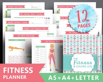 """Fitness planner insert: """"FITNESS JOURNAL"""" Letter + A4 + A5, Daily Weight Loss, Health Planner, workout planner, food diary, calorie tracker"""