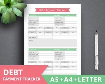 """Debt Tracker Printable: """"DEBT PAYMENT"""" Letter, A4, A5, Debt Snowball, Loan Tracker, Debt Inserts, Debt Payoff, Debt planner, debt repayment"""