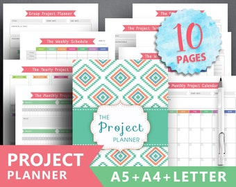 """Project Planner printable: """"PRODUCTIVITY PLANNER"""" Letter A4 A5 Binder Insert Task Tracker College Student, Task Insert Planner Meeting Notes"""