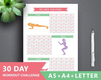 """Fitness Challenge printable: """"30 DAYS FITNESS"""" Letter A4 A5 Binder Fitness Journal Plank Printable, Crunches workout planner, Squat planner"""