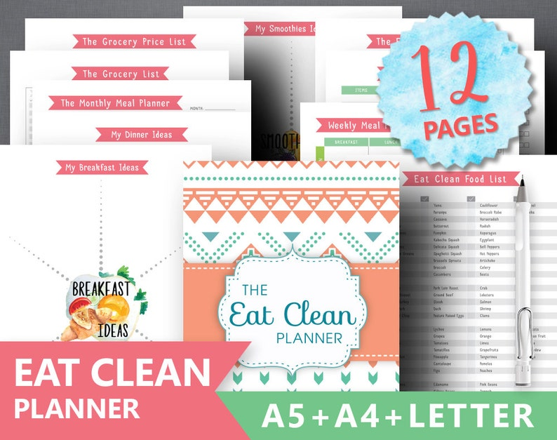 photograph regarding Clean Eating Food List Printable titled Fresh Consuming Planner Printable: \