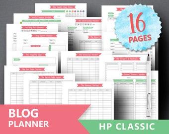 "HP Classic Blog Planner Printable: ""BLOGGING PLANNER"" Blog Printable Blog Organizer Weekly Blog Planner Blog Post Social Media Planner"