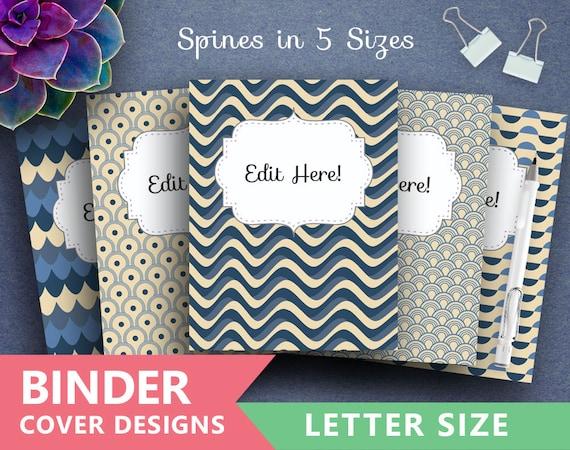 binder cover printable vintage blue waves print etsy