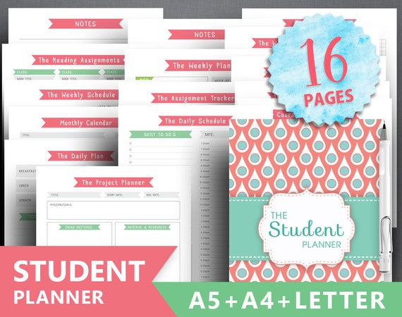 college planner printable student planner letter etsy