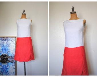 a8f2b3fbfce Vintage 1960s Jean Patou Mod Linen Dress // White Pink Sleeveless // Small  Medium