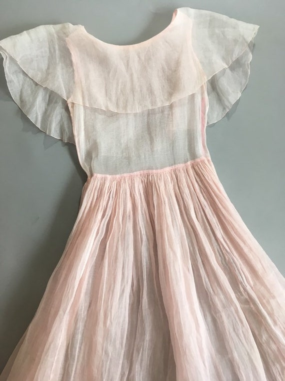 Vintage 1930s pink organza dress - image 3