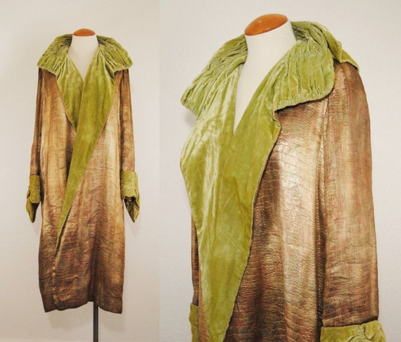 20s Flapper Coat Cocoon Coat // Gold Metallic SNAK