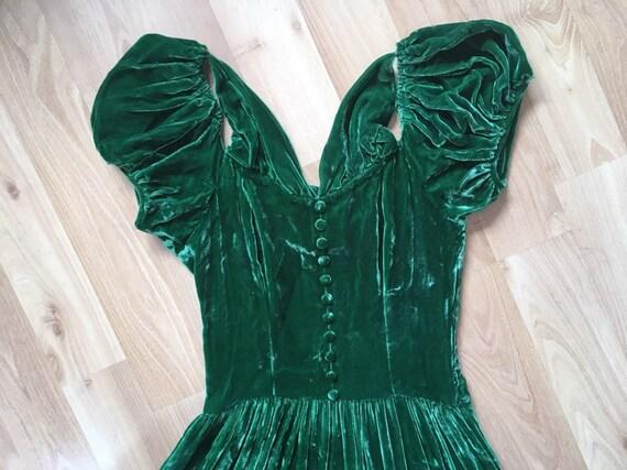 Vintage 1940s Silk Velvet Dress // Moss Green Gown