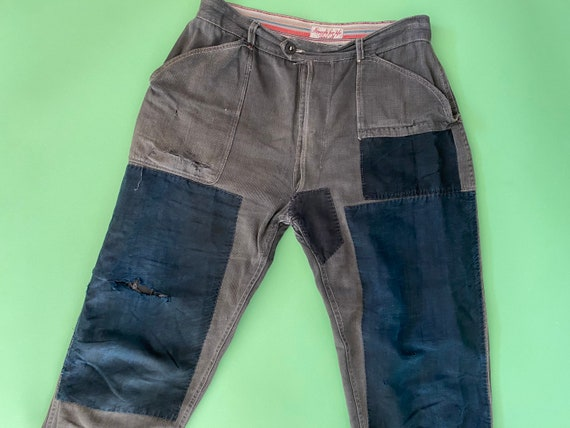 40s moleskine french chore pants  Adolphe Lafont faded distressed patchwork trousers  Patched faded repaired french workwear