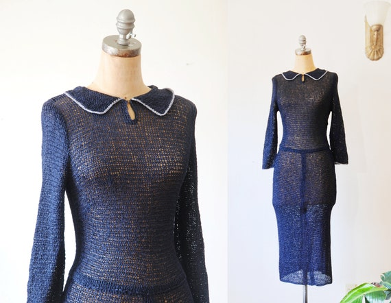 Vintage 1940s Ribbon Knit Dress // Navy Blue 40s F