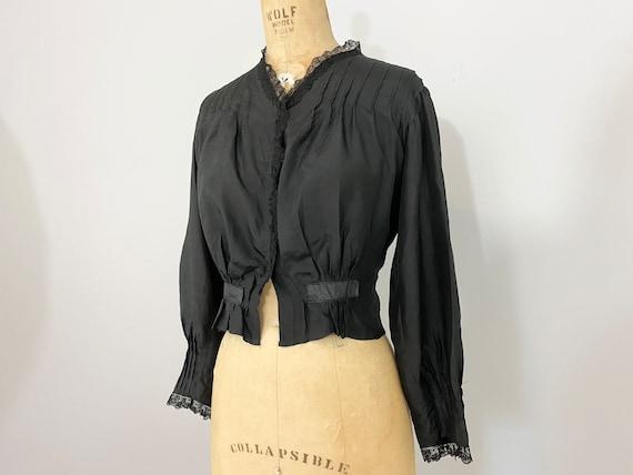 Antique Victorian Black Silk Blouse // 1800s 1900… - image 3