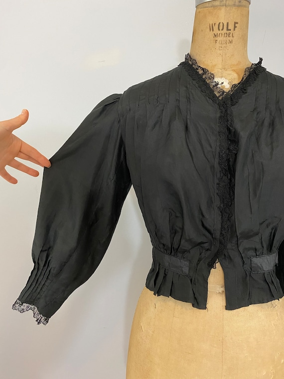 Antique Victorian Black Silk Blouse // 1800s 1900… - image 2