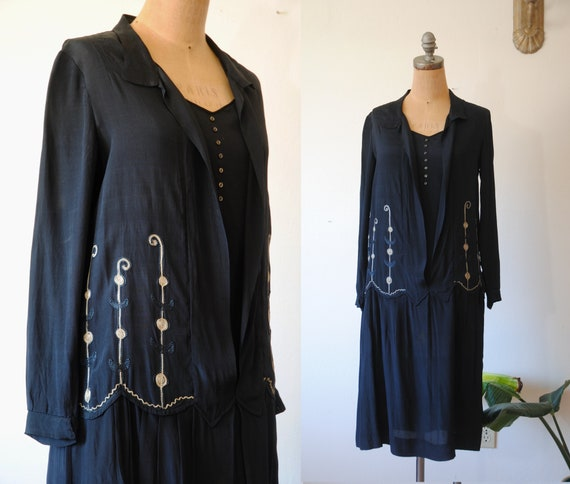 Antique 1920s embroidered silk dress