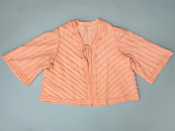 Vintage 1940s Chenille Bed Jacket // Peach Pink St