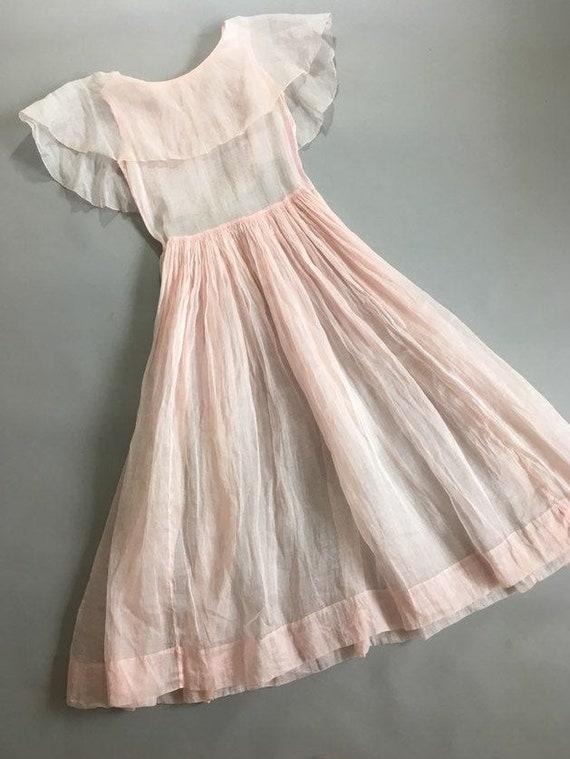 Vintage 1930s pink organza dress - image 1