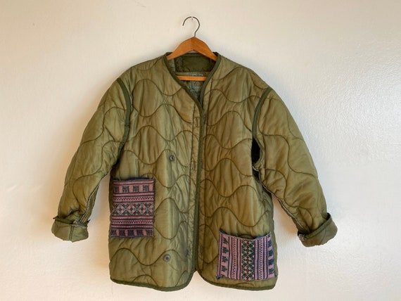 Vintage 1960s M65 green army liner jacket with emb