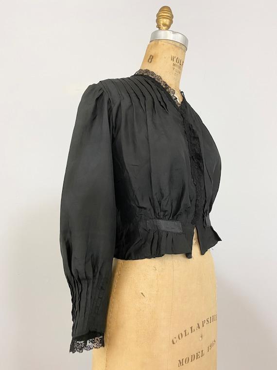 Antique Victorian Black Silk Blouse // 1800s 1900… - image 8