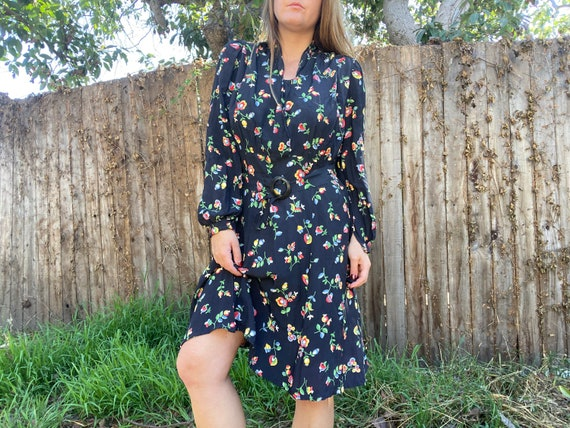 Vintage 1930s floral print dress // 30s cold rayon