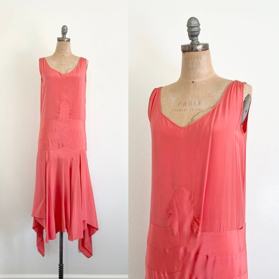1920s Silk Dress // 20s Coral Pink Flapper Dress /