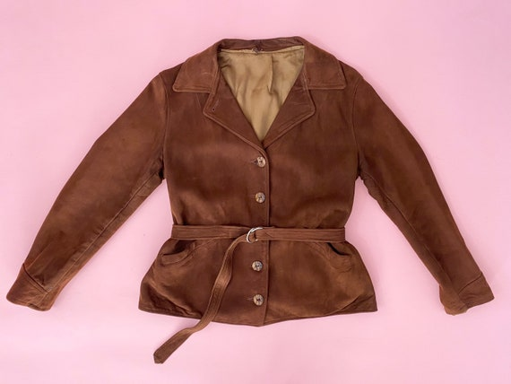 Vintage 1940s Suede Jacket // 40s Brown Leather Co