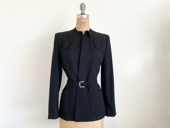 Vintage 1940s Black Wool Coat // 40s Blazer Jacket