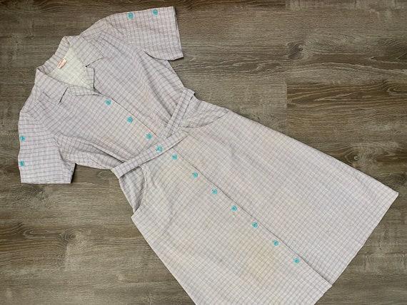 1940s Plaid Dress // Gray Cotton Day Dress // 30s