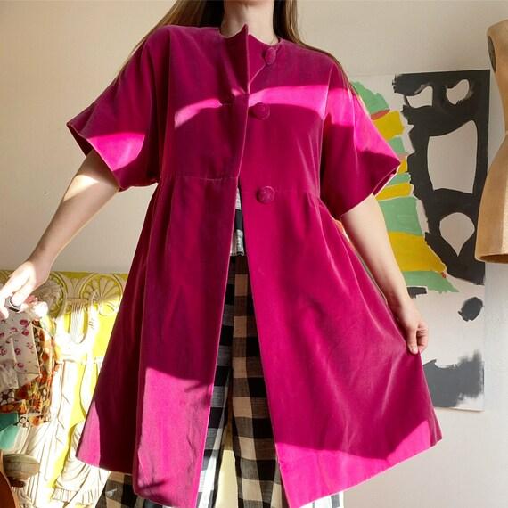 Vintage 1950s Fuchsia Coat // Mid Century Pink Vel