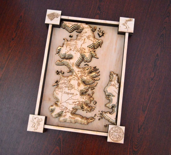 Westeros And Essos Map 3d Game Of Thrones Map Wooden Map Wooden Engraved Geek Gift Nerd Gift Gift Idea A Song Of Ice And Fire