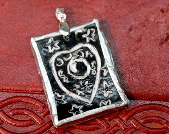 """Handmade Ceramic Pendant with Sgraffito Design and Soldered Frame - Ouija Planchette - Black and White - Hand Crafted - Unique - Occult 1.5"""""""