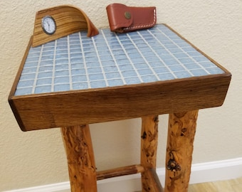 Reclaimed Wood, Driftwood, & Glass Tile End and Accent Table - Perfect blend of beach and rustic style