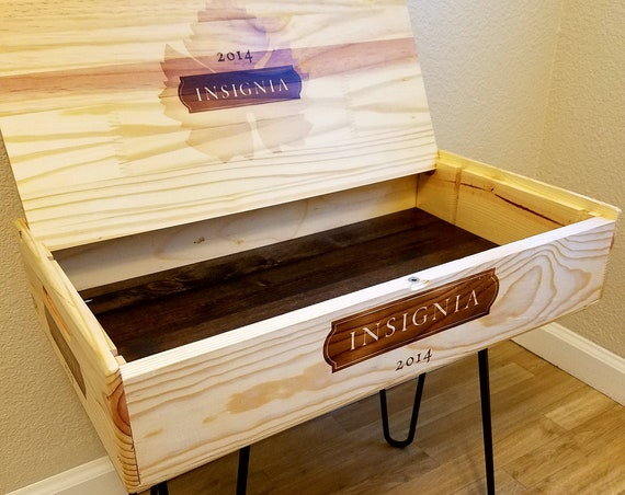 Wine Crate End Table or Coffee Table with Hairpin Legs