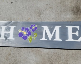 """Handmade Wall Art - """"HOME"""" Sign with flowers in purple"""