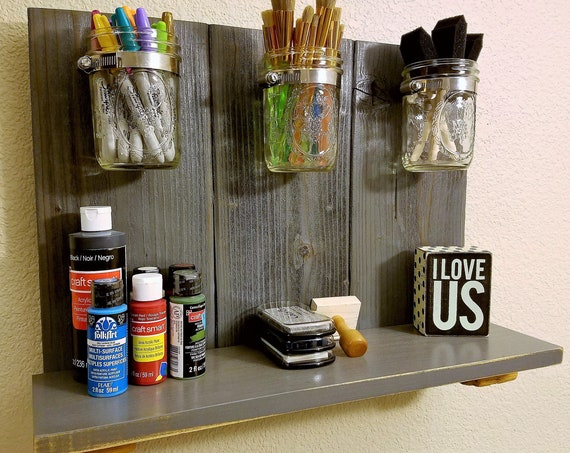 Rustic Upcycled Country Mason Jar and Pallet Organizer Book Shelf