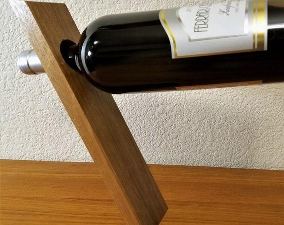 Balancing Wine Bottle Holder Display - Single Tilted Gravity-Defying Wine Rack