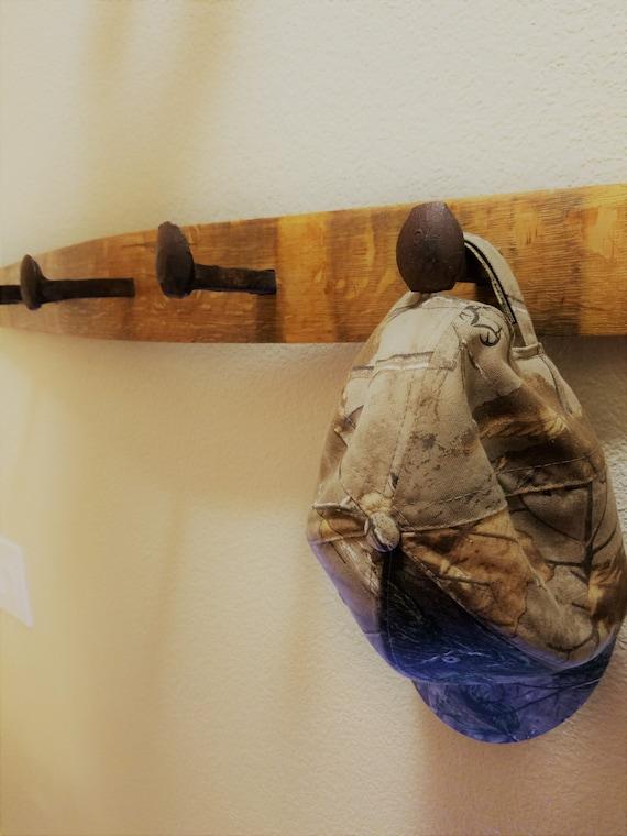 Railroad Spike Wall Coat Rack - Used Wine Barrel Stave Wood and Railroad Tie Nails