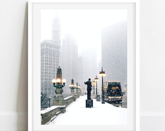 Chicago Black and White Photography, Chicago Winter Print, Wrigley Building in Winter, Winter Photography, Chicago Wall Art, Large Art Print