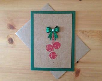 Christmas Bells Card - Holiday Bells Card - Craft Paper Christmas Card with Holiday Bells - Color Options