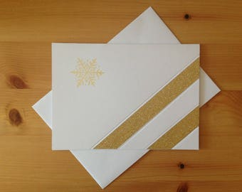 Golden Christmas - Winter Holiday - New Year's - Greeting Card - Pressed Stamped with Washi Tape