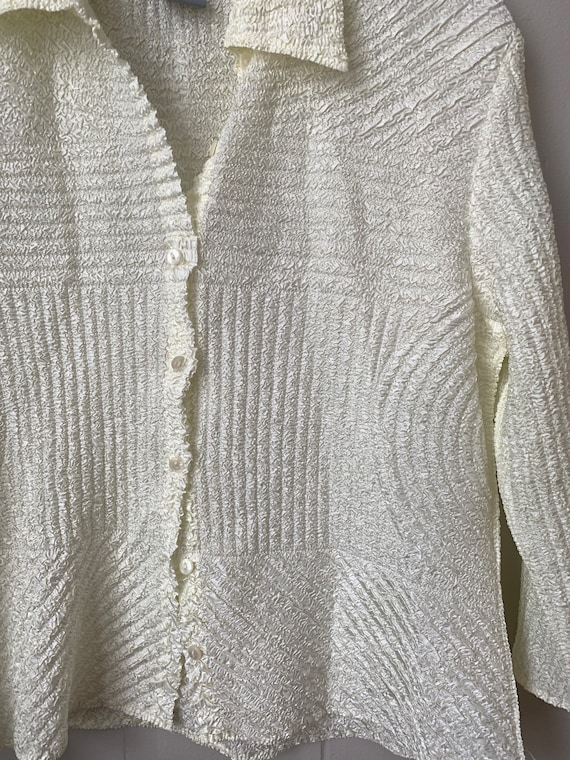 textured micro pleated ivory button up blouse - image 3