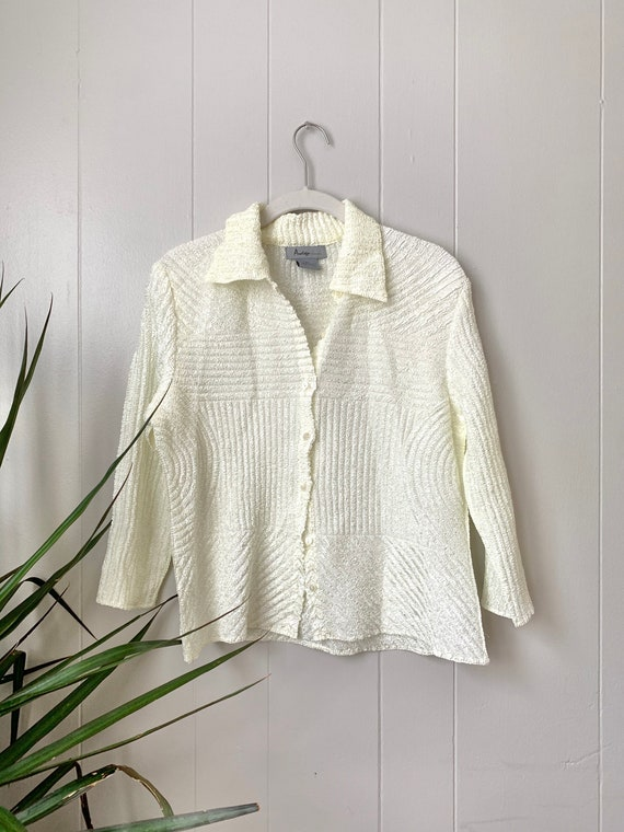 textured micro pleated ivory button up blouse