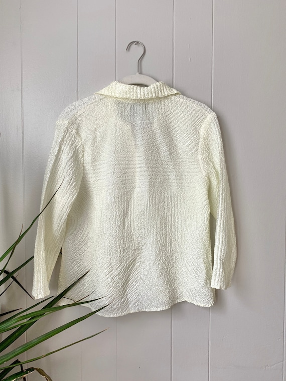 textured micro pleated ivory button up blouse - image 2